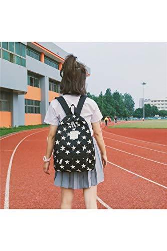 NoNo Boutique, stilvoll, schön, bequem, Lagerung Sternchen-Doppel Schultern Schultasche Reisetasche Backpackage Freizeittasche Sporttasche bequemer Rucksack Lager (Farbe : Black) -