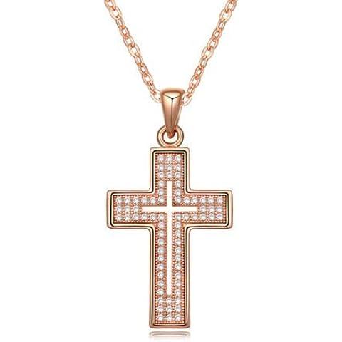 Oro rosa 18K Gp Bianco Cristalli Swarovski collana con ciondolo croce Nuovo