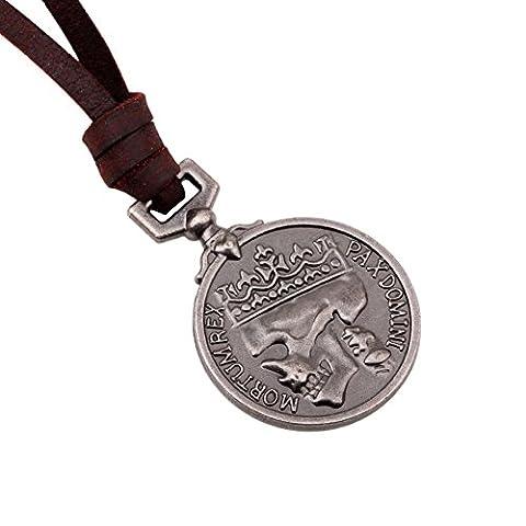 SUPER-BAB Fashion Men's Leather Necklace Pendant Antique Retro Pendant Leather Necklace Link Chain Charm Jewel