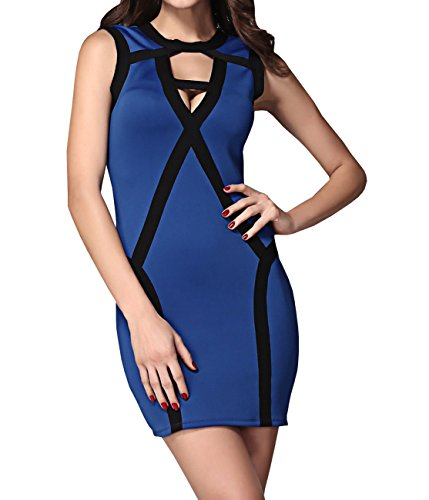 E-Girl pansement Original Hollow Out Mini Robe Sexy,Bleu Bleu