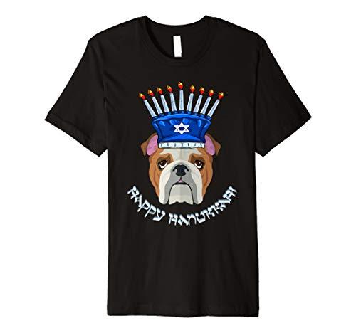 Bulldogge Menora Hut T-Shirt Chanukka Chanukah Shirt
