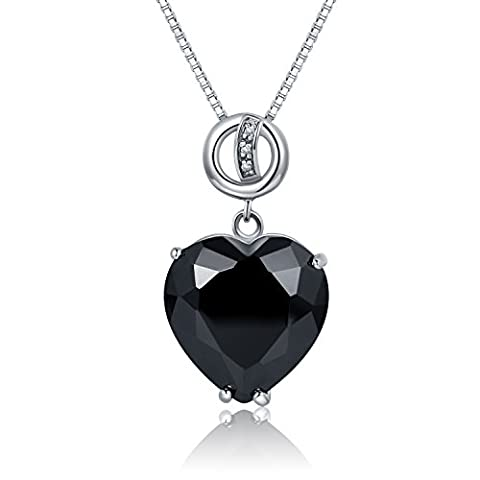 JiangXin ladies' 925 Sterling Silver Big Heart Simulated Black Diamond Pendant Necklace