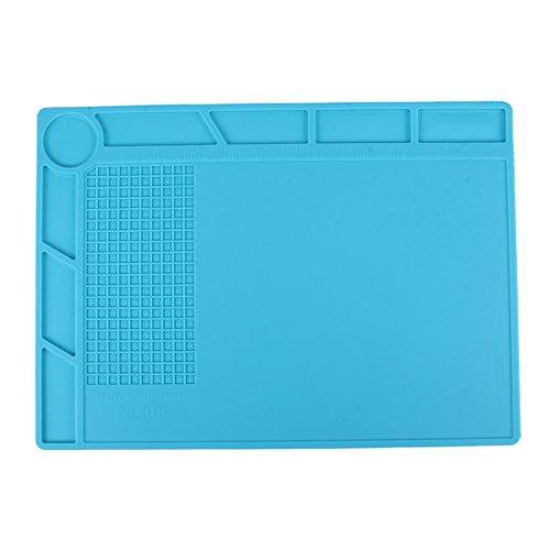 Anti Statische Arbeitsmatte / Isoliermatte / Hitzebeständig / mit kleine Schraubenablage / Größe: 35 x 25 cm in blau