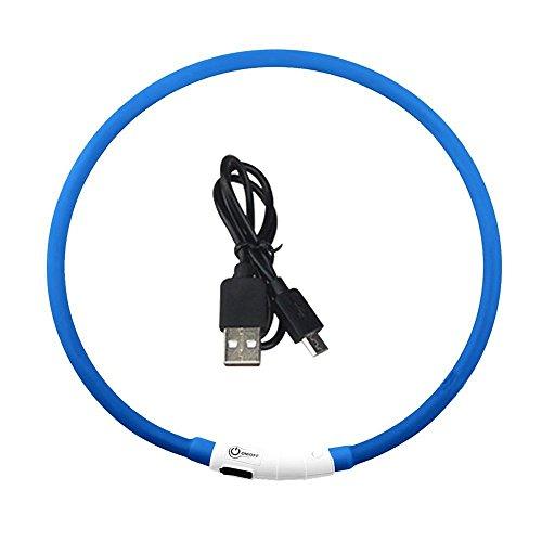Nachtlicht 1 STÜCKE Blau USB Wiederaufladbare LED Leucht Hundehalsband Wasserdicht Einstellbare Blinkende Leuchtende Haustier Sicherheit Kragen Kinder Erwachsene Schlafzimmer und Wohnzimmer -