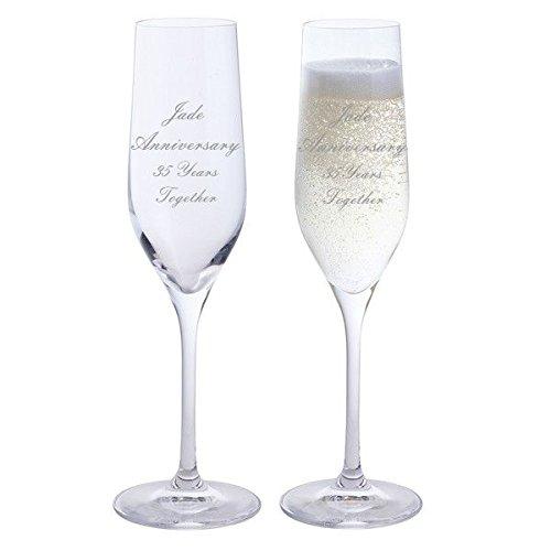 2Jade Jahrestag 35Jahren zusammen Dartington Champagner Flöten Brille (Jade-flöte)