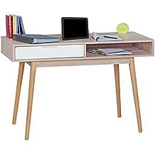 FineBuy mesa de oficina escritorio con cajón Diseño Sonoma / blanco mesa de escritorio del ordenador con cajones para el almacenamiento 120cm moderna para escritorio de la computadora para ahorro de espacio del ordenador portátil joven d