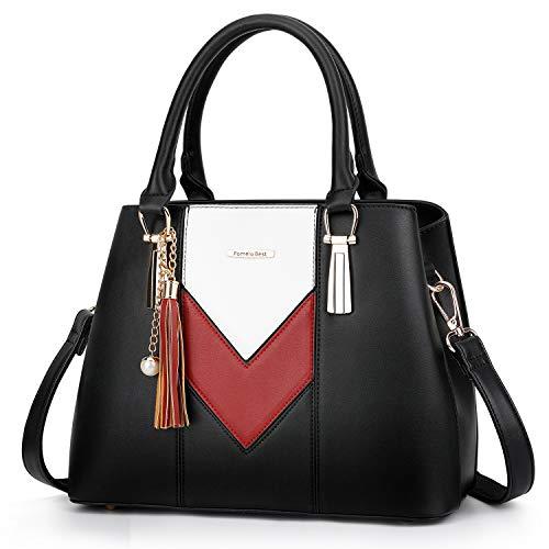 Förmige Handtasche (Pomelo Best Damen Handtasche Mehrfarbig gestreift V-förmiges Design (Schwarz-Rot-Weiß))