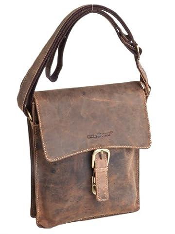 GreenBurry lässige Vintage Leder Kurier Tasche Messenger Bag Schultertasche , 23x26x8 cm (B x H x T)