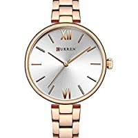 Curren Quartz Movement Round Dial Stainless Steel Waterproof Women Watch - Rose Gold