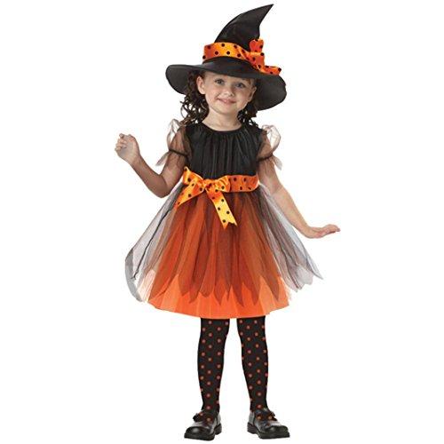 Kinder Baby Mädchen Halloween Kleider Kostüm Kleid Partei Kleider + Hut Outfit 2-15Jahre (110, Gelb) (Top Kinder Kostüme Für Halloween 2017)