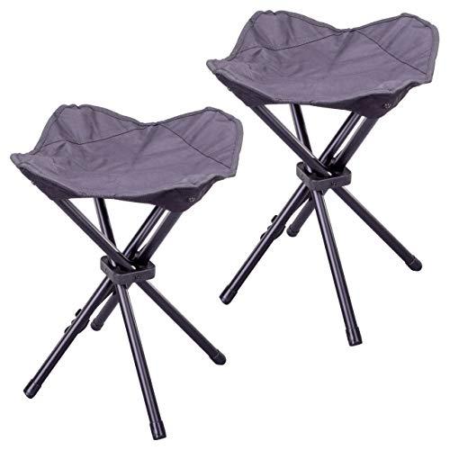Nexos 2er Set Camping-Hocker schwarz 4-beinig Mini Campingstuhl für Angeln Reise Wandern Garten - Outdoor faltbar - Bespannung schwarz - Gestell grau