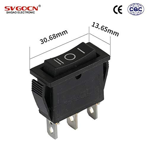Rectangle Rocker Switch (TEN-G 2pcs 3 pins 15A/250VAC 20A/125VAC DPDT Rocker Boat Switch 3 Position 3 Files ON Off ON Latching Rectangle Power Switch Black - (Color: 2pcs))
