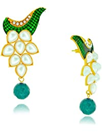 Spargz Designer Green Brass Pearl Drop Earring For Women AIER 419