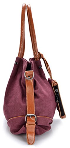 Keshi Leinwand neuer Stil Damen Handtaschen, Hobo-Bags, Schultertaschen, Beutel, Beuteltaschen, Trend-Bags, Velours, Veloursleder, Wildleder, Tasche Weinrot