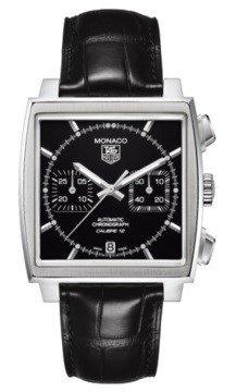 Tag Heuer Monaco CAW211N.FC6177 - Cronografo automatico da uomo, quadrante nero, in pelle nera
