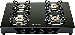 Hindware Armo GL 4B BLK Stainless Steel 4 Burner Cooktop, Black