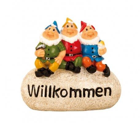 3 Gartenzwerge Willkommen Stein Gartendeko Dekoration Figur Dekostein Stein niedliche Zwerge Skulpturen