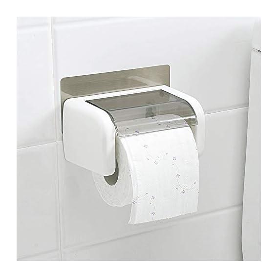 PETRICE Magic Sticker Series Self Adhesive Kitchen Bathroom Toilet Paper Roll Holder Dispenser (White)