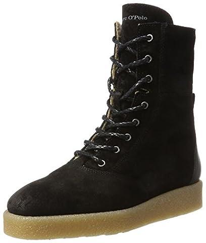 Marc O'Polo Lace Flat Heel Bootie 70914296301304, Bottes Souples Femme, Schwarz (Black), 36 EU