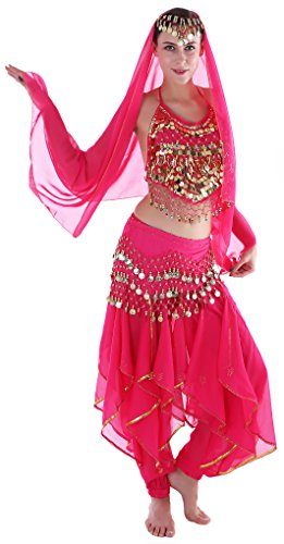 men Indische Tanzkostüm Faschings-Kostüm Erwachsene Gelbrot (Tänzer Halloween Kostüme)