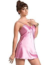 Naughty Bitz Sexy Dusky Pink Ladies Luxury Satin Block Colour Slip Chemise Babydoll