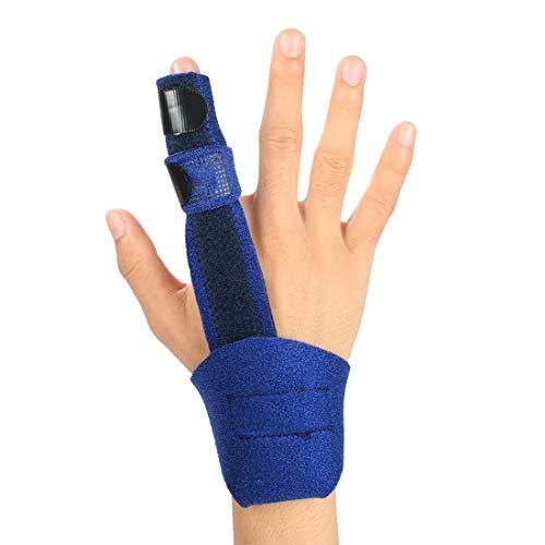 Hossom Fingerschiene Verlängerung für Trigger Finger, mittleren gebrochenen Finger mit Handgelenkstütze, einstellbare Aluminiumstange Handhalterung für Frakturen Schmerzlinderung -