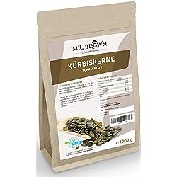 Mr. Brown Kürbiskerne ShineSkin | 1000 g | natur, schalenlos | eiweißreich, glutenfrei | leckere Knabberei! - Ideal auch zum Backen, Kochen und Garnieren | abgefüllt in Deutschland (1000 GR)