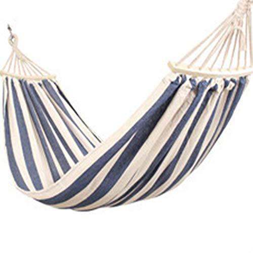 HUJINGE Tragbare Camping Garten Strand Reise Hängematte Outdoor Ultraleicht Bunte Schaukel Bett Rolloverproof leinwand Stick shammock 100 cm blau weiß (Outdoor-hängematte-schaukel-bett)