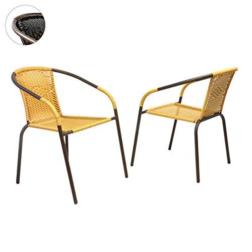 Nexos 2er Set Bistrostuhl Stapelstuhl Balkonstuhl Poly Rattan Gartenstuhl Terrasse Stuhl beige