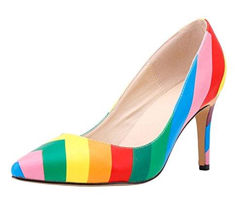 HooH Damen Regenbogen Mehrfarbig High Heel Pumps Mehrfarbig 41 EU