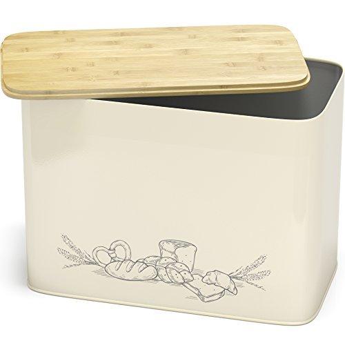 Großer Brotkasten mit Bambus Schneidebrett Deckel - XXL Vintage Brotbox & Toastbrotbox aus Metall im Retro Look - stylischer Metallbox Brottopf - spülmaschinengeeignet | EINWEG