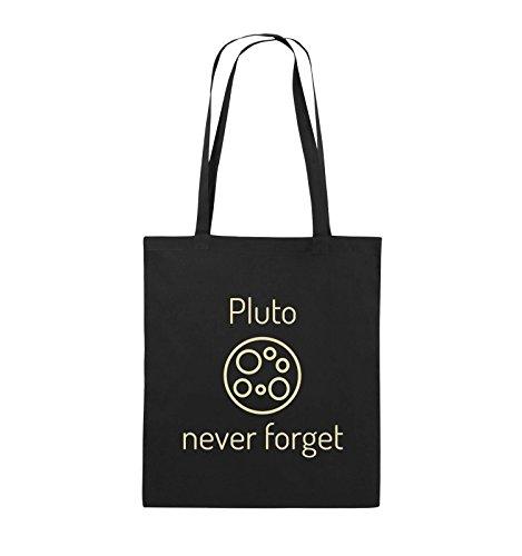 Borse Comiche - Pluto Mai Dimenticare - Borsa In Juta - Manico Lungo - 38x42cm - Colore: Nero / Rosa Nero / Beige