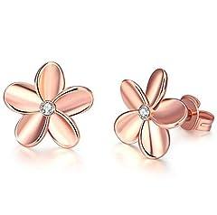 Idea Regalo - Yeahjoy, orecchini scintillanti a perno da donna con graziosi piccoli strass in oro rosa 18K/placcato platino a forma di fiore, 18ct rosa oro, cod. 2020281150
