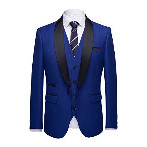 WEEN CHARM Herren schal-revers-3-stück anzug slim fit one button kleid-klage-blazer-jacken-hosen tux weste klein Blau01 -