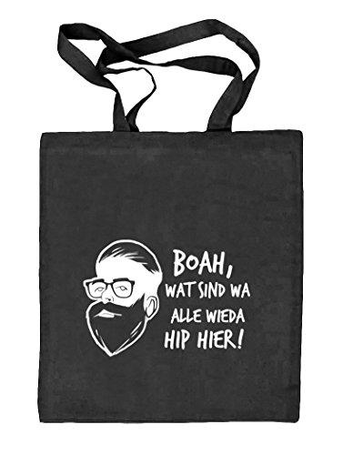Boah, wat sind wa alle wieda hip hier! Natur Stoffbeutel Jute Tasche (ONE SIZE) schwarz natur
