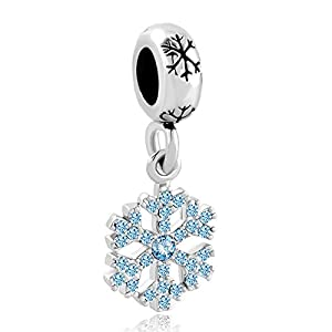 Korliya Weihnachten Schneeflocke Baumeln Charm Bead für Armband