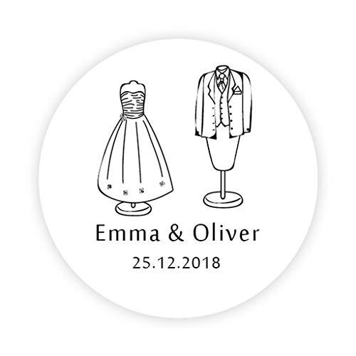 48 Stk PERSONALISIERT Handgezeichnete Brautkleid und Bräutigam Anzug Aufkleber 4cm rund...