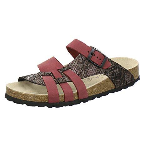 AFS-Schuhe 2122, Modische Damen-Pantoletten aus Leder, Bequeme Hausschuhe Größe 38 Rot (Beere)