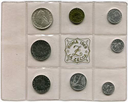 Italia repubblica divisionale 1969 fior di conio fdc completo con 500 lire argento