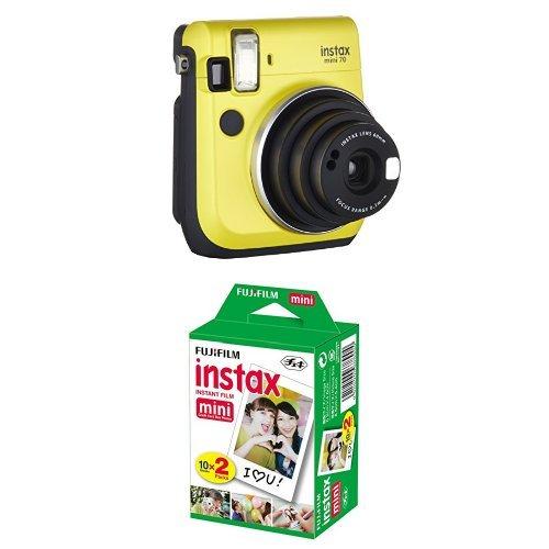 Fujifilm Instax Mini 70 Appareil photo instantané Jaune + Fujifilm - Twin Films pour Instax Mini - 86 x 54 mm - Pack 2 x 10 Films - Appareil Photo