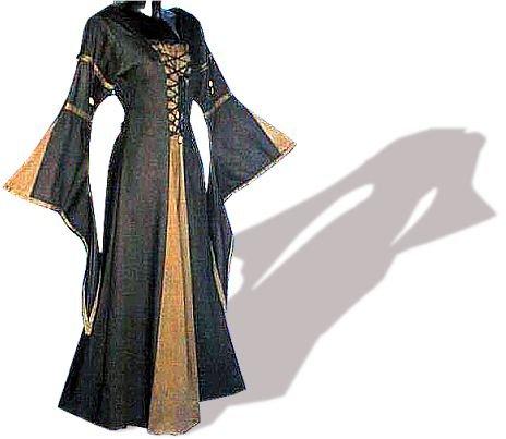 Kostüme Vampir Traditionellen Nicht (Mittelalter lang, im Leinen-Look, Baumwolle, schwarz/braun, Größe)
