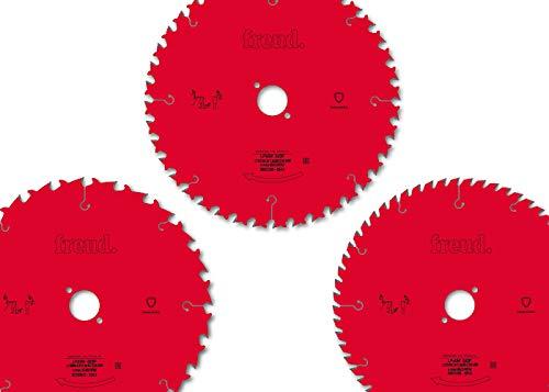 """Kreissägeblätter-Set\""""Die Roten\"""" von freud (165 x 1,7/1,3 x 20 mm) Hartmetall Sägeblätter für Holz, 3 Stück"""