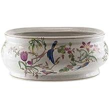 better u best jardinera de porcelana ovalada grande con dibujo de pjaros