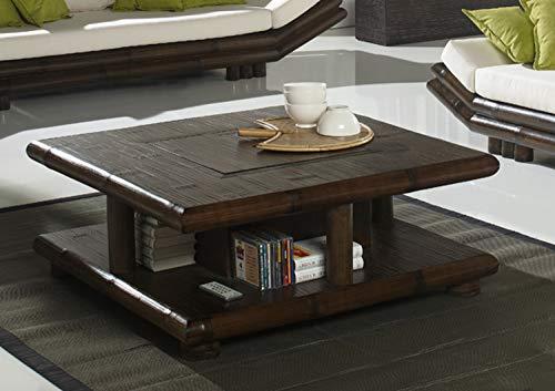 Designer Couchtisch Bambus TAO schwarz mit Getränkefach Bar Funktion Bambustisch Wohnzimmertisch Beistelltisch Couch Negra | Hochwertige Bambusmöbel | Handarbeit Eye-Catcher
