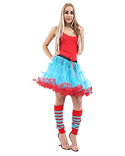 Momo&Ayat Fashions Ladies Thing Red Turquoise Theme 1 & 2 Book Week Costume- Pick & Mix (Set 5 - Tutu, S/M (UK 8-10))