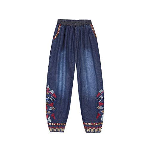 Gestickte Jeans Frauen Urlaub Casual Elastic Retro -