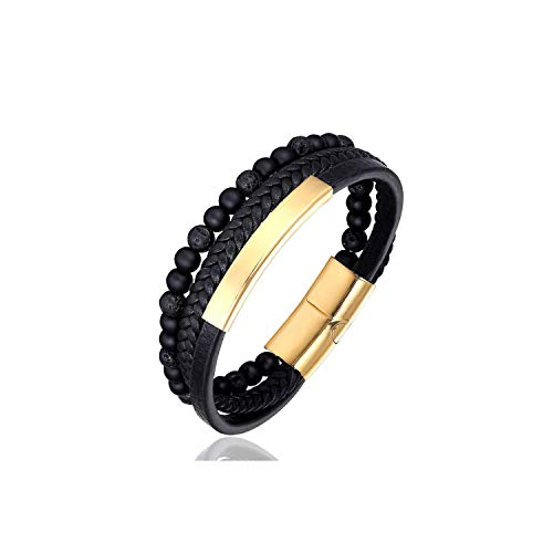 Armband Armreif, Schmuckgeschenk,New 6MM Natural Stone Men Jewelry Punk Black Blue Braided Leather Bracelet for Men Stainless Steel Magnetic Clasp Fashion Bangle AS shown5 ()