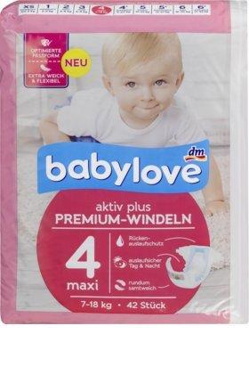 babylove Windeln Premium aktiv plus Größe 4, maxi 7-18kg, 42 St