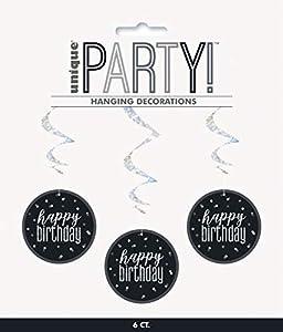 Unique Party- Adornos, Color black & silver (83780)