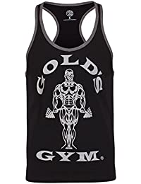 Golds Gym Herren Training Top Achselshirt Muskelshirt Aermellos Shirt Tanktop Schwarz Trim UK Medium